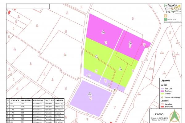 cartographie agriculture SIG GPS carte carto plan parcelle agricole surface superficie couleur culture arboriculture cadastre exploiation tableau données